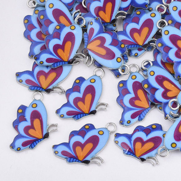 Butterfly Charm Gold Blue 24.5x16mm