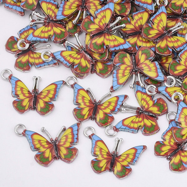 Butterfly Charm Silver Yellow 14x20.5mm
