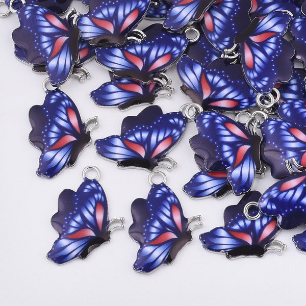 Butterfly Charm Silver Blue Red 24.5x16mm