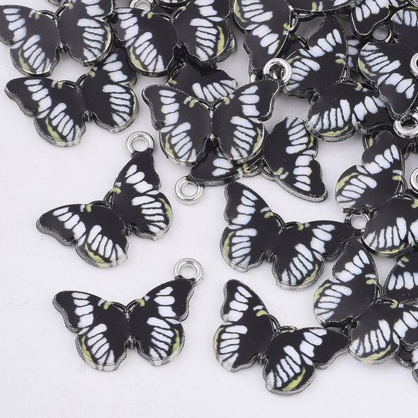 Bedel Vlinder Zilver Zwart Wit 13.5x20mm