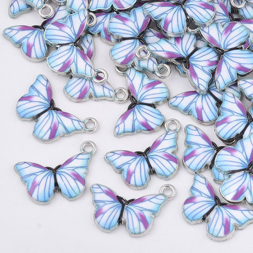 Butterfly Charm Silver Blue Purple 13.5x20mm