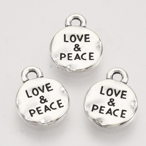 Bedel Love & Peace Zilver 13.5x10.5mm Nikkelvrij, 6 stuks