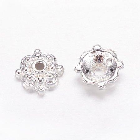 20 Pieces Tibetan Bead Cap Silver Plated 8mm