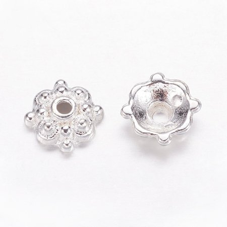 20 stuks Tibetan Bead Cap Silver Plated 8mm