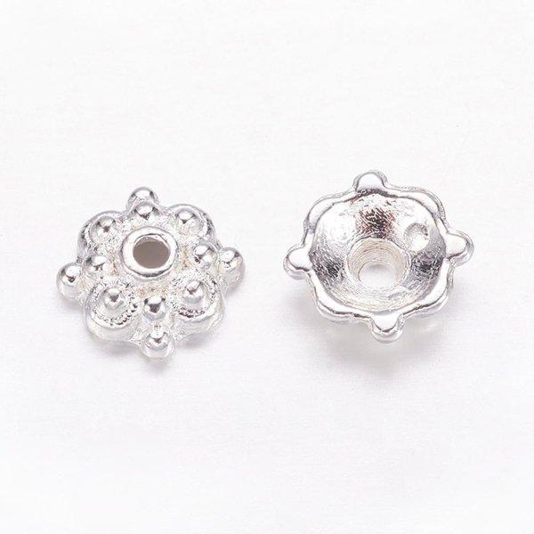 Tibetan Bead Cap Silver Plated 8x3mm, 20 stuks