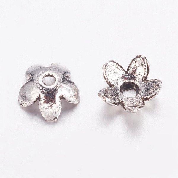 Flower Bead Cap Silver 6.5x3mm Nickel Free, 20 pieces