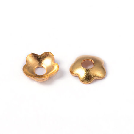 20 Pieces Flower Bead Cap Gold plated 4mm