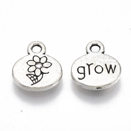 8 Pieces Charm with Flower Antique Silver 13x11.5mm