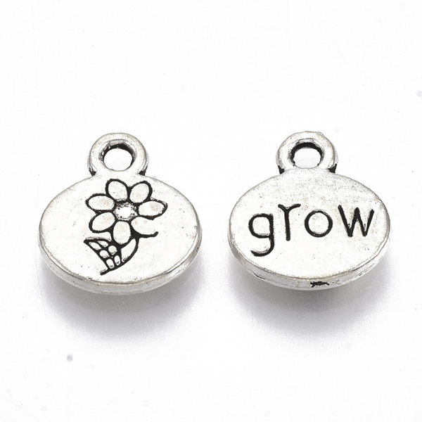 Charm with Flower & Grow Antique Silver 13x11.5mm. 8 pieces