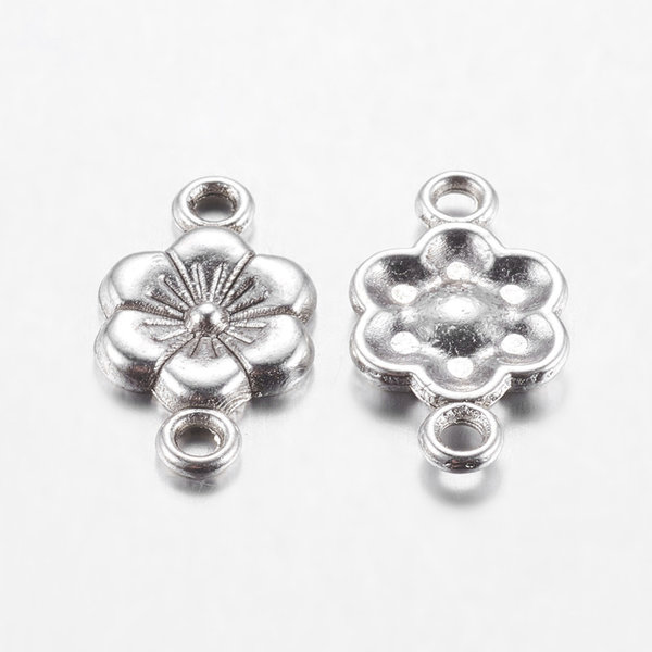 Connector Flower Silver 18x10mm, 8 pieces