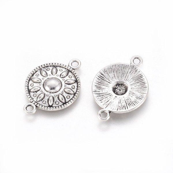 Tussenzetsel Tibetan Rond Antiek Zilver 25.5x17x2.5mm, 5 stuks