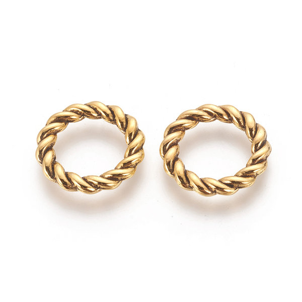 Tussenzetsel Ring Twist Antiek Goud 19x2mm, 8 stuks
