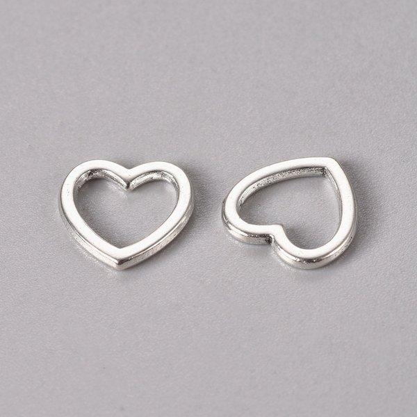 Connector Heart Antique Silver 10mm Nickel Free, 20 pieces