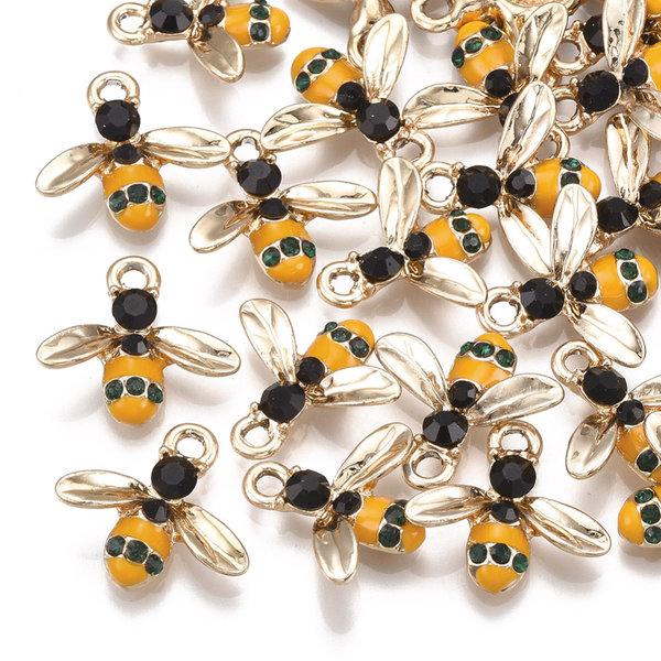 Bee Charm Gold Black Yellow with Rhinestone 15x16.5mm
