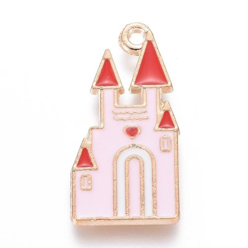 Castle Charm Gold Pink 25x12.5mm