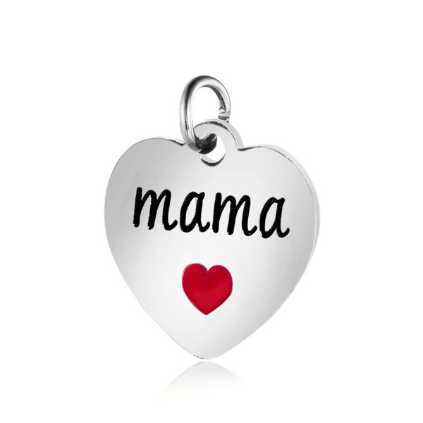 Stainless Steel Charm Heart with MAMA Silver 12x12.5mm