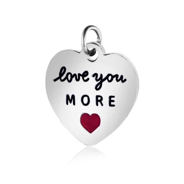 """Stainless Steel Charm """"Love You More"""" Silver 12x12.5mm"""