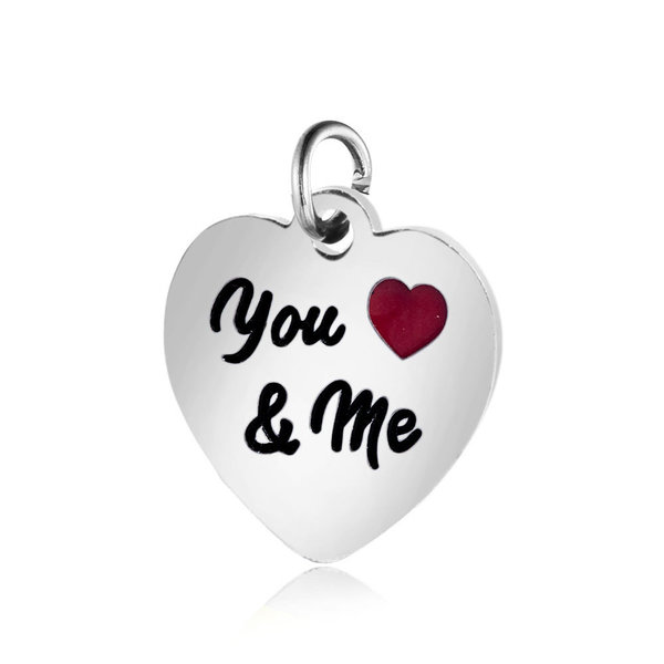 """Stainless Steel Charm """"You & Me"""" Silver 12x12.5mm"""