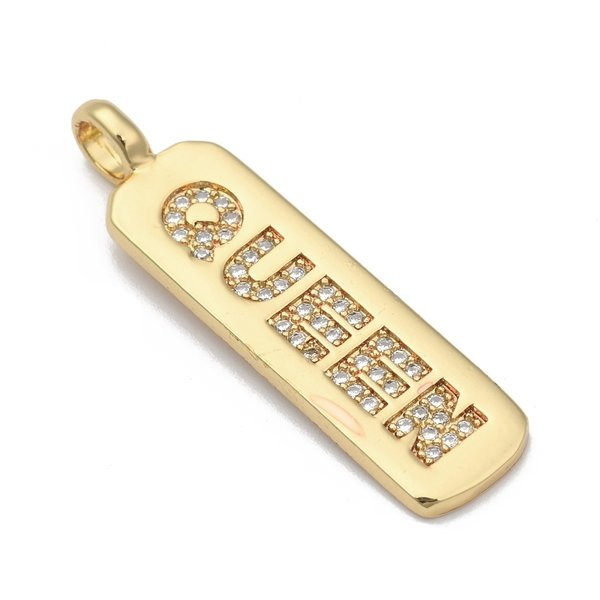 QUEEN Bedel met Zirkonia 18K Gold Plated 32x8mm