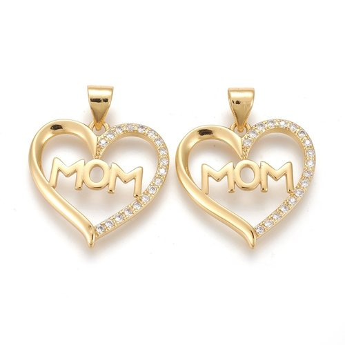 Heart with MOM Charm with Zirconia Gold 18.5x19mm