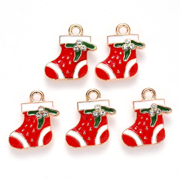 Christmas Sock Charm with Rhinestone Gold Red 18x17mm