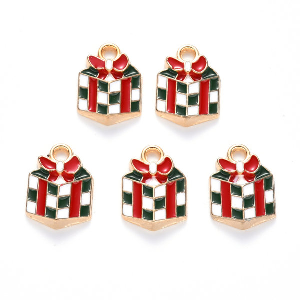 Christmas Present Charm Gold Red 14x10mm