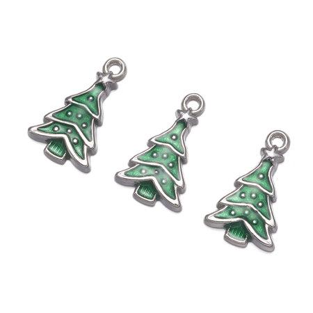 Christmas Tree Charm Green Silver 23.5x14mm