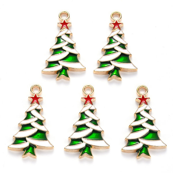 Christmas Tree with Star Charm Gold Green Red 27x16mm