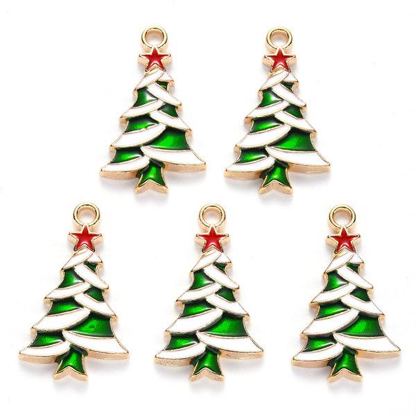 Kerstboom met Ster Bedel Goud Groen Rood 27x16mm