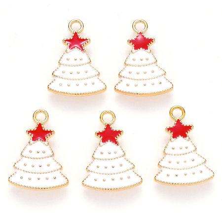 Christmas Tree Charm Gold White 22x16mm