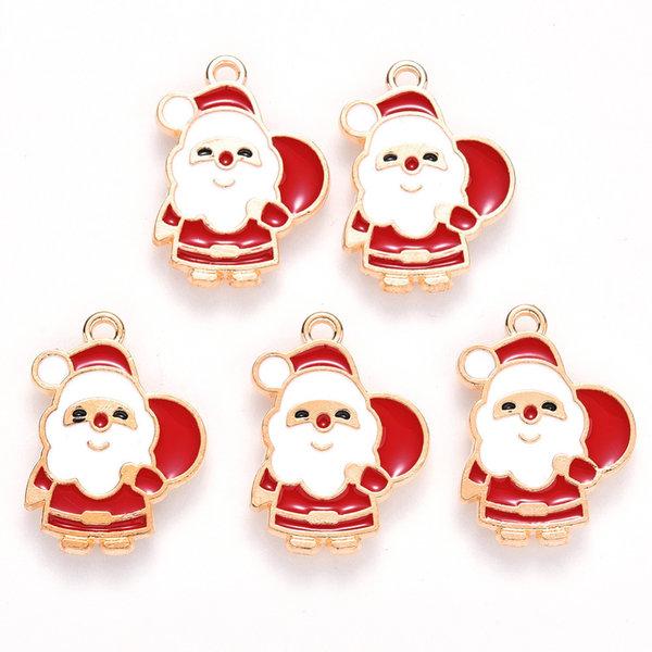 Santa Claus Charm Gold Red White 22x16mm