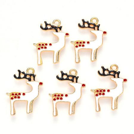 Christmas Rudolf Deer Charm Gold White 23x18mm