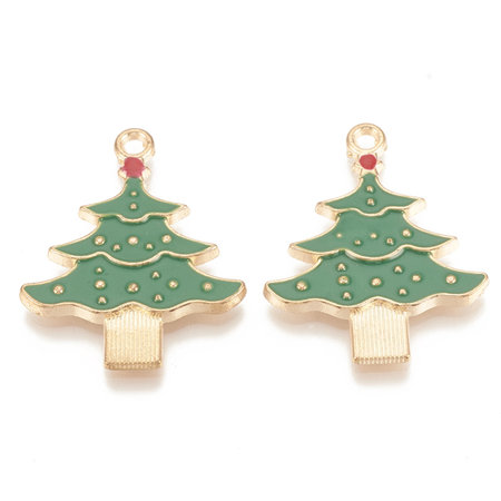 Christmas Tree with Star Charm Gold Green Red 33x26mm