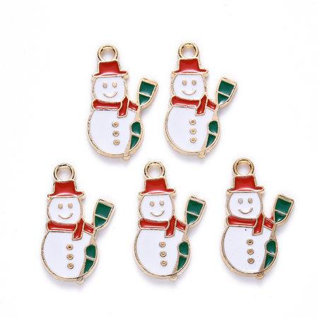 Sneeuwpop Bedel  Goud Wit 21x13mm