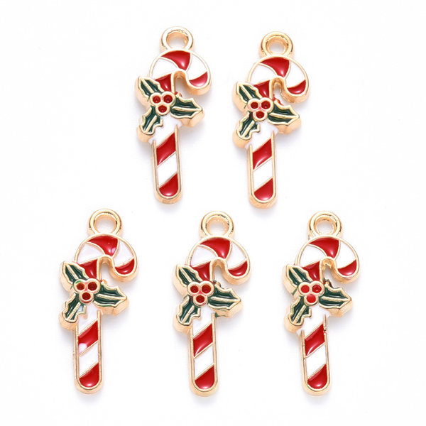Candy Cane Charm Gold White 15x8mm