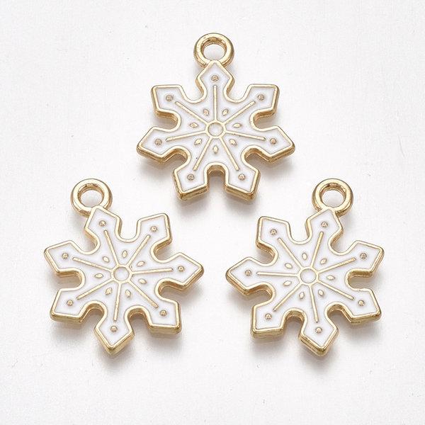 Snow Flake Charm Gold White 21x18mm