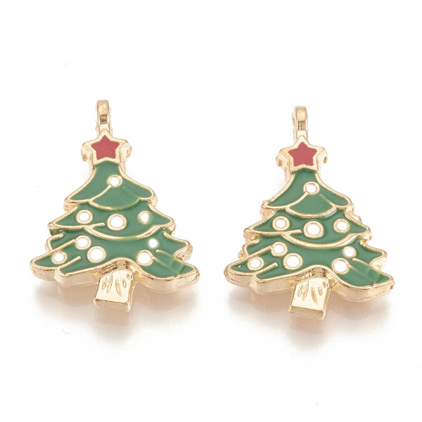 Christmas Tree with Star Charm Gold Green Red 23.5x17mm