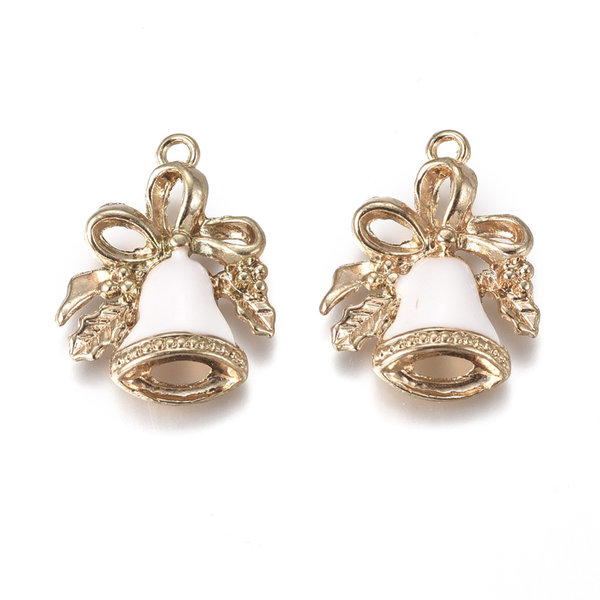 Christmas Bell Charm Gold White 21x16mm