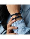 Box Knot Armband Leer in Blauw en Zwart Maken