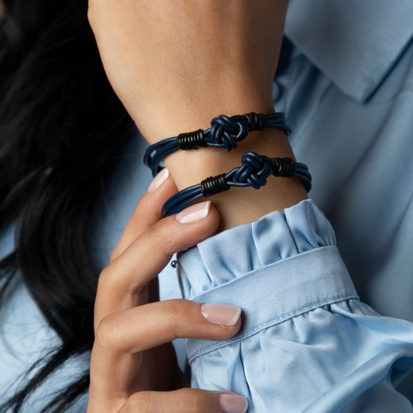 Box Knot Leather Bracelet in Blue and Black