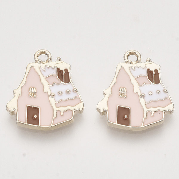 Gingerbread House Charm Gold Pink 19.5x17mm