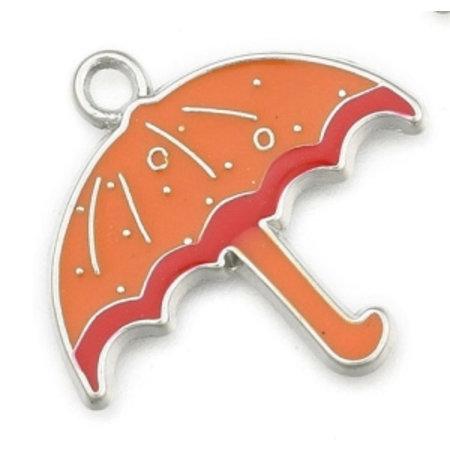 Bedel Paraplu Zilver Oranje 26x28mm