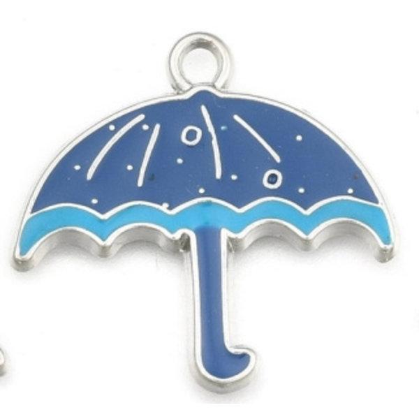 Umbrella Charm Silver Blue 26x28mm