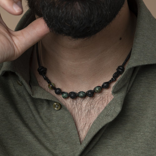 Make Leather Shamballa Necklace  for Men with Macramé  and Gemstones