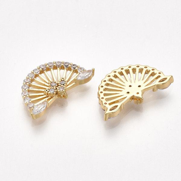 Zirconia Fan Link Nickel Free Gold Plated 10x17x2mm
