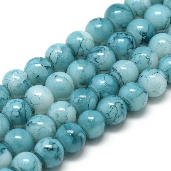 Glassbeads Sky Blue 6mm, strand 135 pieces