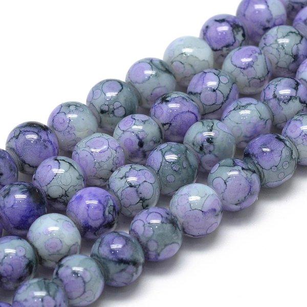 Glassbeads Purple 6mm, strand 135 pieces