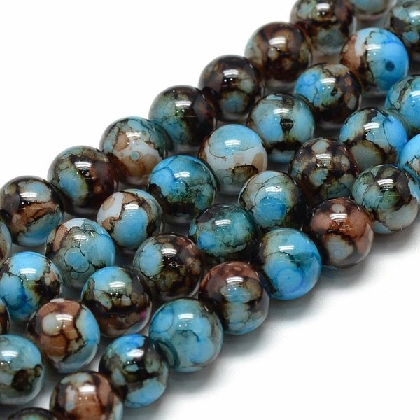 Glassbeads Blue Brown 6mm, Strand 135 Pieces