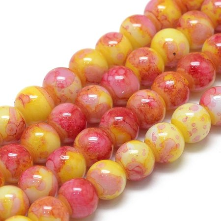 Glassbeads Red Yellow 6mm, strand 135 Pieces