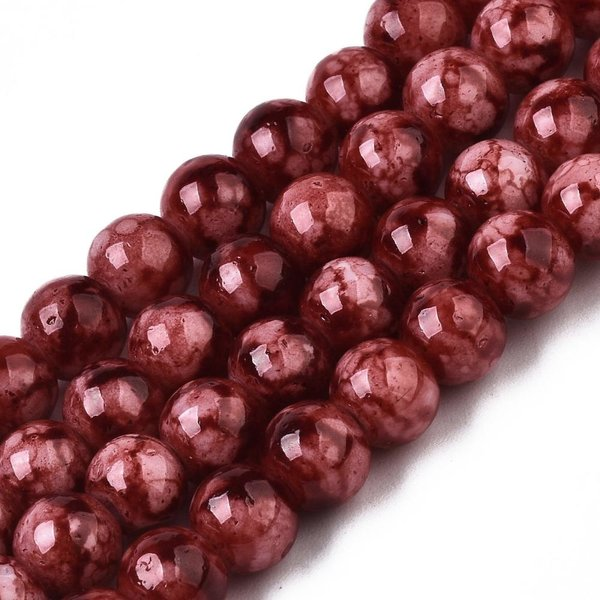 Glassbeads Red 6mm, strand 135 Pieces
